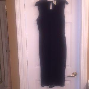 Navy and black midi dress
